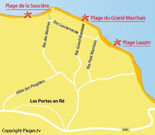 Carte de la plage du Marchais aux Portes en Ré
