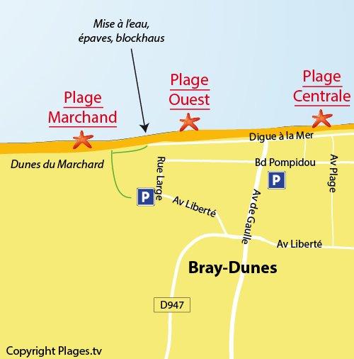 Plan de la plage du Marchard à Bray-Dunes