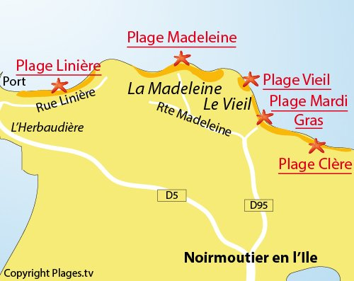 Map of Mardi Gras beach in Noirmoutier