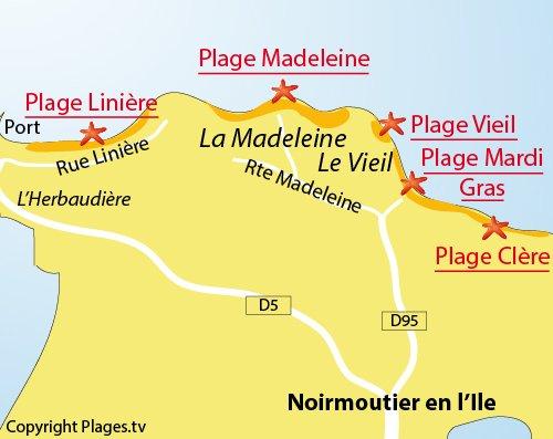 Plan de la plage de Mardi Gras à Noirmoutier