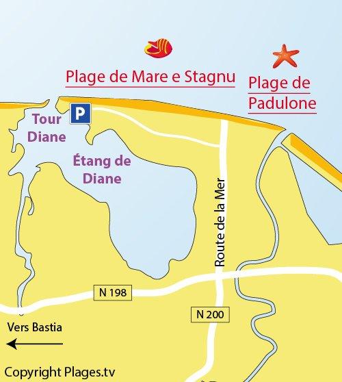 Carte de la plage de Mare e Stagnu à Aléria