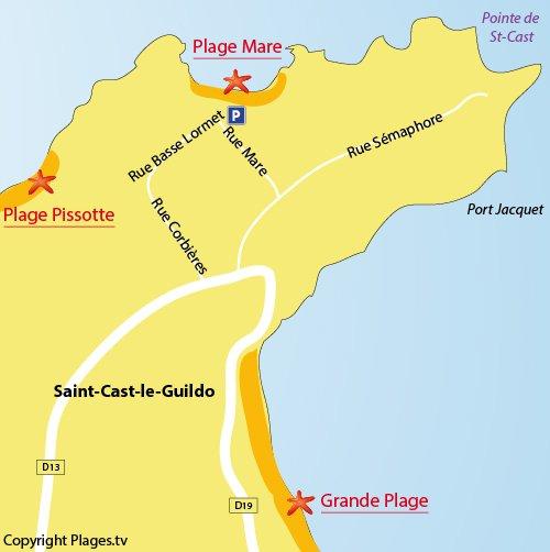 Carte de la plage de la Mare à St Cast Guildo