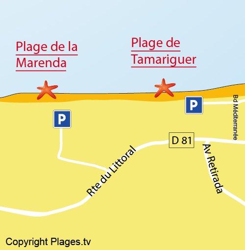Map of Marenda Beach in Argelès