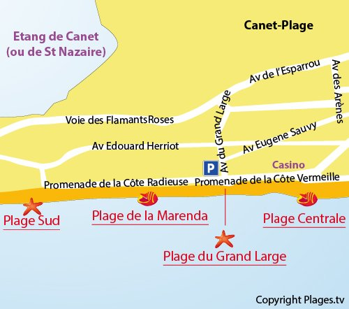 Map of Marenda Beach in Canet en Roussillon
