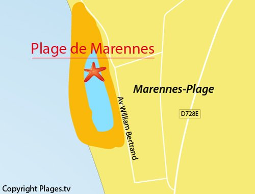 Map of Marennes beach in France