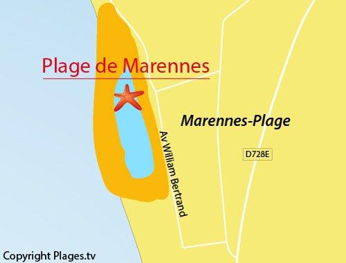 Carte de la plage de Marennes