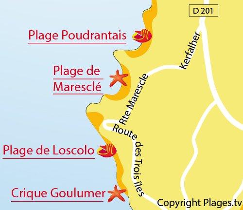 Carte de la plage de Maresclé - Pénestin