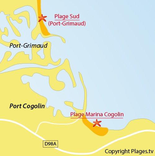 Map of Marina Beach in Cogolin