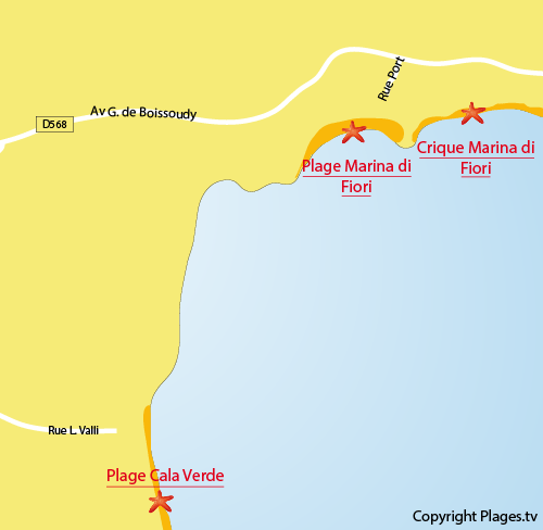 Map of the Marina di Fiori beach in Porto-Vecchio - Corsica