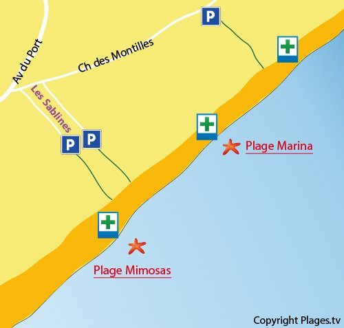 Map of Marina Beach in Vendres