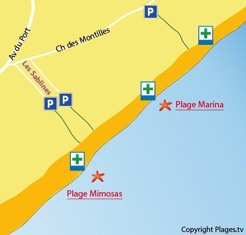 Mappa della Spiaggia Marina a Vendres