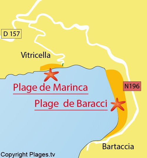 Map of Marinca Beach - Vitricella - Olmeto