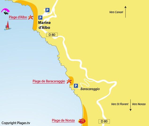 Plan des plages autour de la marine d'Albo dans le Cap Corse