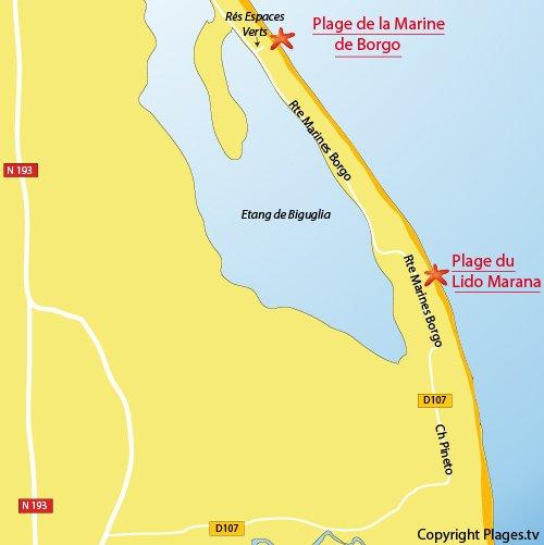 Carte de la plage de la Marine de Borgo en Corse