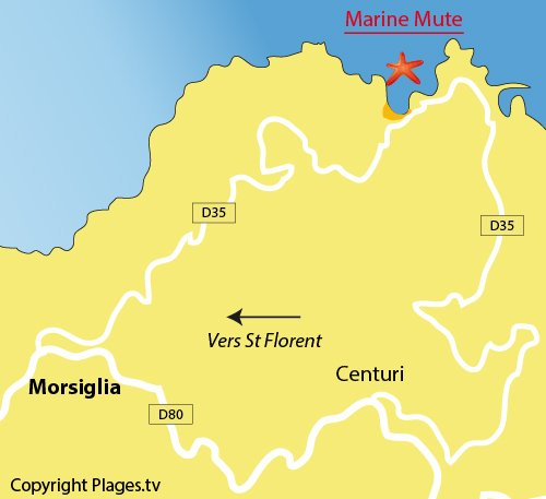 Plan de la plage de la marine de la Mute à Morsiglia
