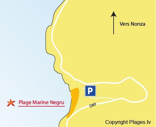 Mappa della Spiaggia della Marina di Negru - Cap Corse