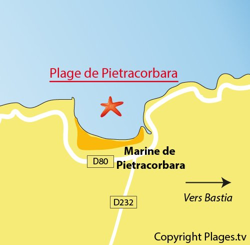 Carte de la plage de la marine de Pietracorbara dans le Cap Corse