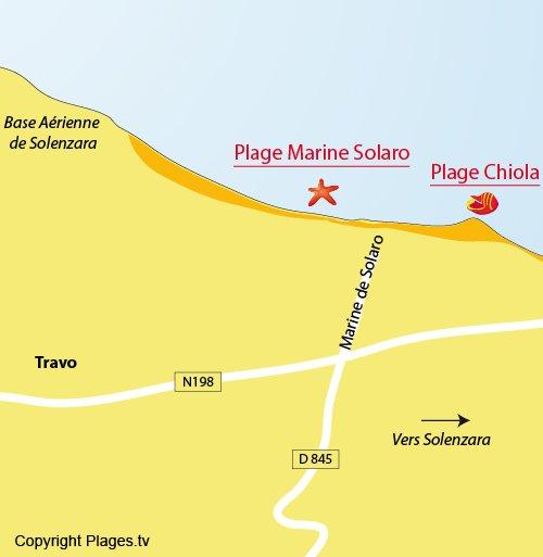 Plan d'accès pour la plage de la marine de Solaro en Corse