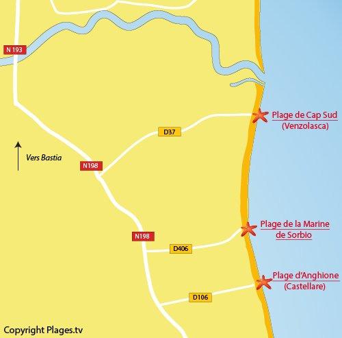 Carte de la plage de la Marine de Sorbio en Corse