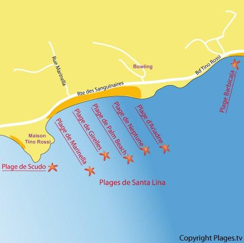 Mappa spiaggia di Marinella a Ajaccio