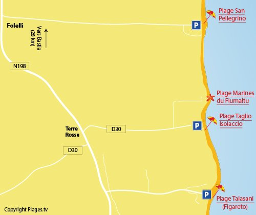 Carte de la plage des Marines du Fiumaltu