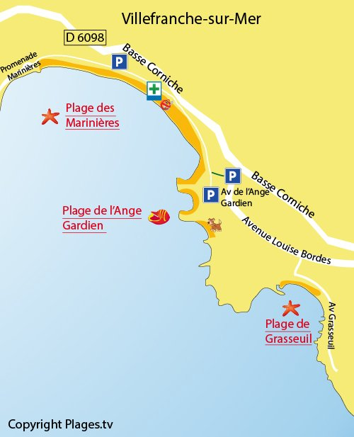 Map of the Marinières Beach in Villefranche sur Mer