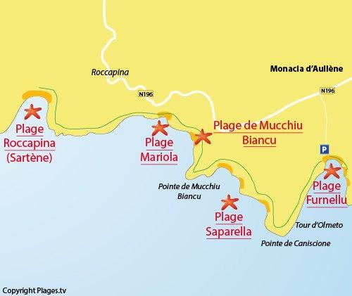 Mappa della Spiaggia di Mariola in Corsica