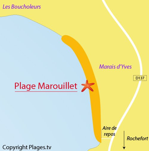 Map of Marouillet Beach in Yves