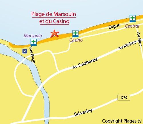 Carte de la plage au sud de Dunkerque