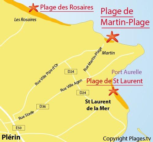Carte de la plage de Martin-Plage (Plérin)