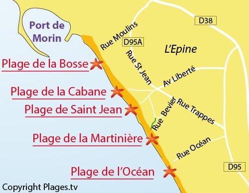 Carte de la plage de la Martinière à Noirmoutier