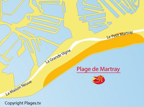 Carte de la plage du Martray à Ars en Ré