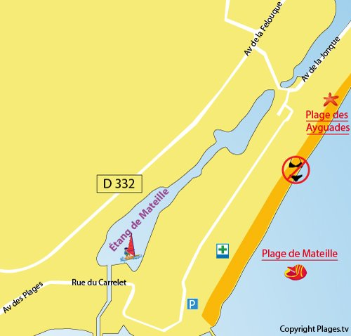 Map of Mateille Beach in Gruissan