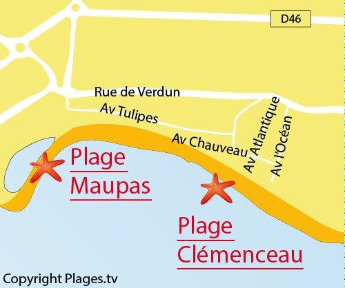 Carte de la plage de Maupas à La Tranche