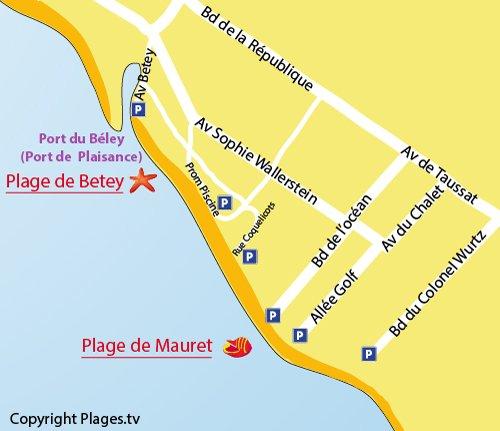 Carte de la plage de Mauret à Andernos les Bains