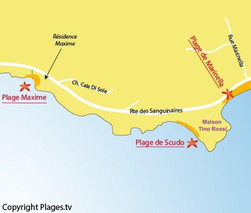 Carte de la plage Maxime à Ajaccio