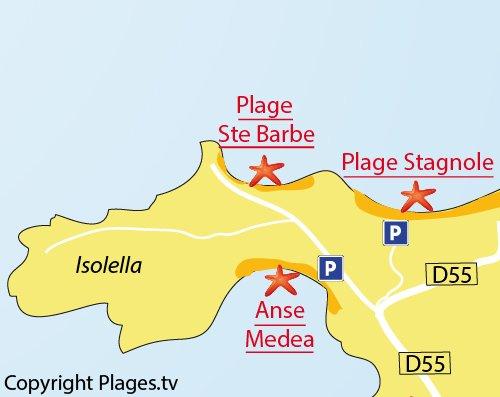 Map of Cala Medea in Isolella - Pietrosella