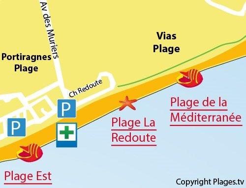 Carte de la plage de la Méditerranée à Vias
