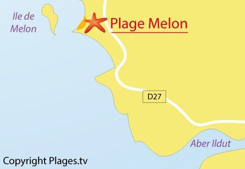 Carte de la plage du Melon à Porspoder - Bretagne