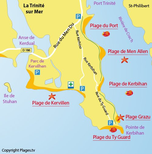 Map of Men Allen Beach in La Trinité sur Mer