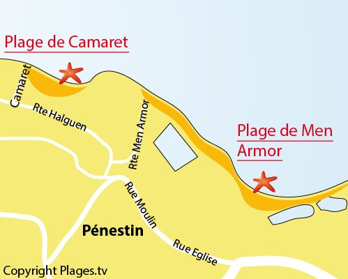 Map of Men Armor Beach - Pénestin