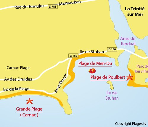 Map of Men Du Beach in La Trinité sur Mer