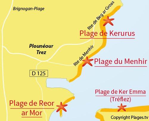 Carte de la plage du Menhir à Plounéour Trez