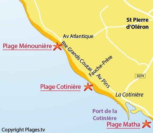 Plan de la plage de la Ménounière à St Pierre d'Oléron