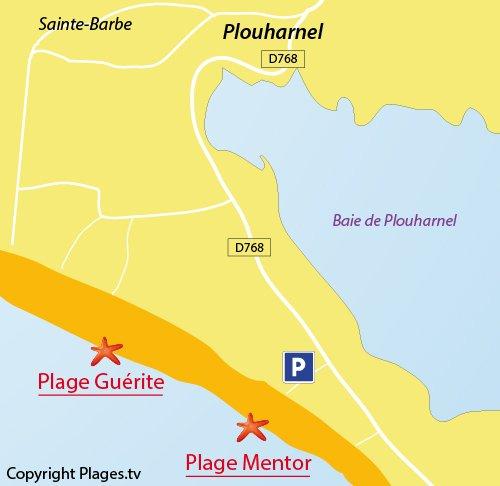 Carte de la plage du Mentor à Plouharnel