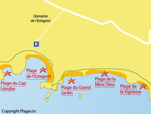 Map of the Mère Dieu Beach in Bormes les Mimosas