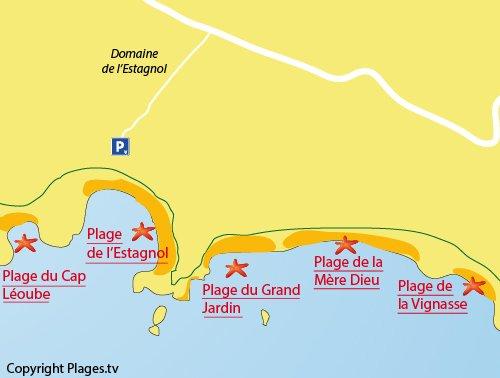 Plan de la plage Mère Dieu à Bormes les Mimosas