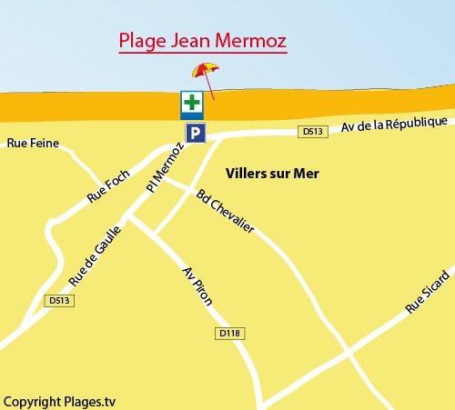Map of Jean Mermoz Beach in Villers sur Mer