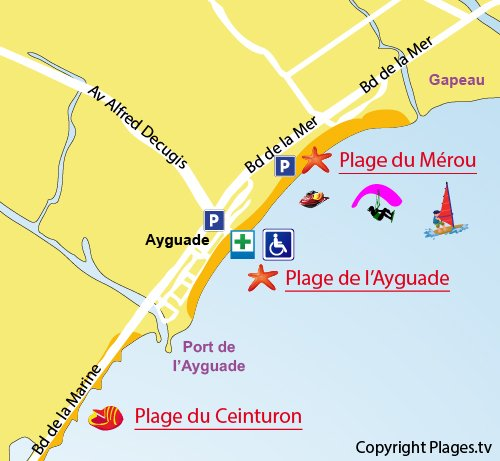 Map of Mérou Beach in Hyères