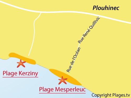 Carte de la plage de Mesperleuc à Plouhinec